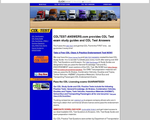 CDL TEST ANSWERS - Driver License Test questions and answers | HAZMAT ENDORSEMENT - CDL PRACTICE TEST - STUDY GUIDE FOR CDL TEST - CLASS A CLASS B PERMIT TEST