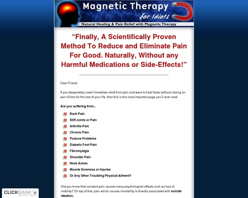 Magnetic Therapy For Idiots - Natural Healing And Pain Relief With Magnetic Therapy